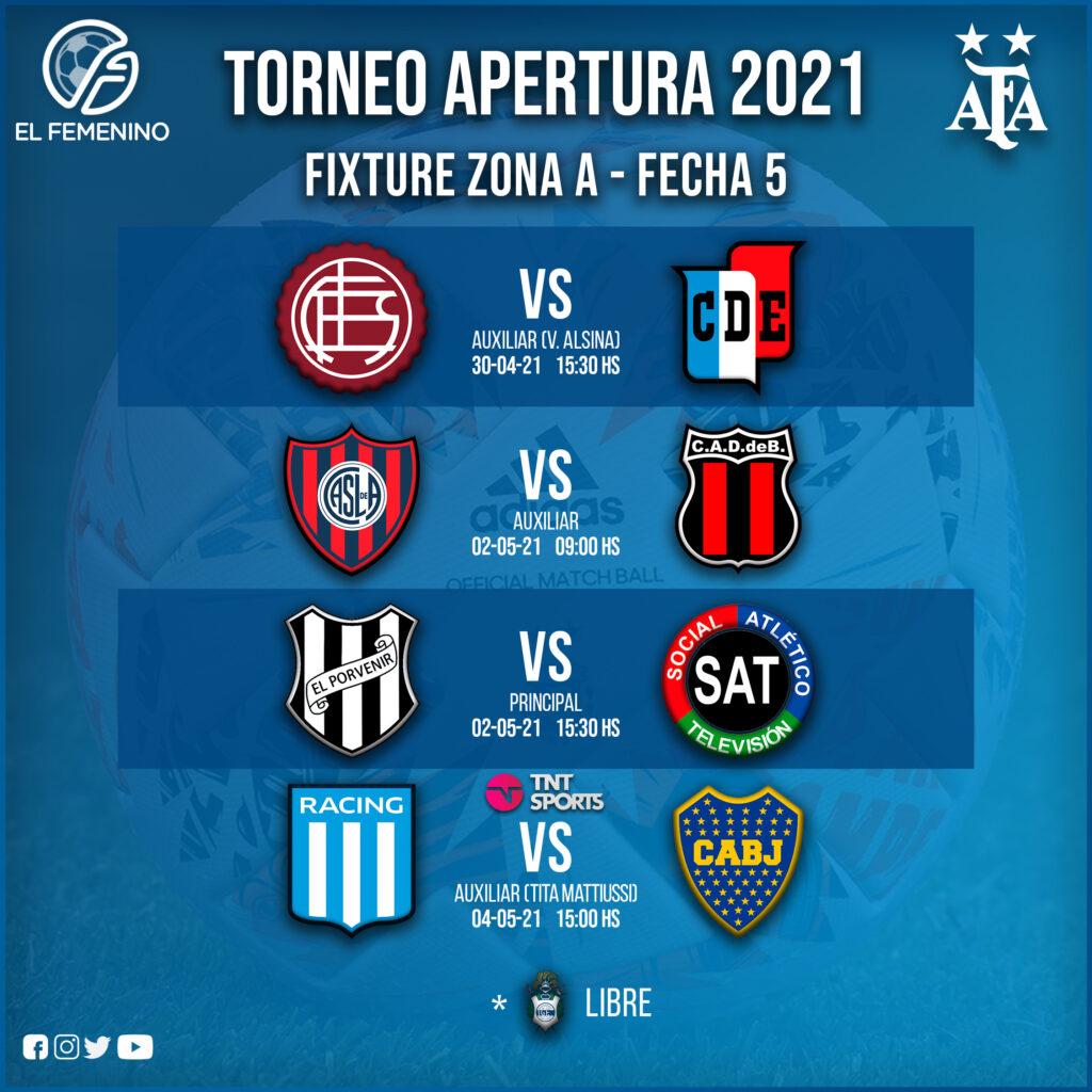 Torneo Apertura Femenino 2021 - Fecha 5 - Zona A