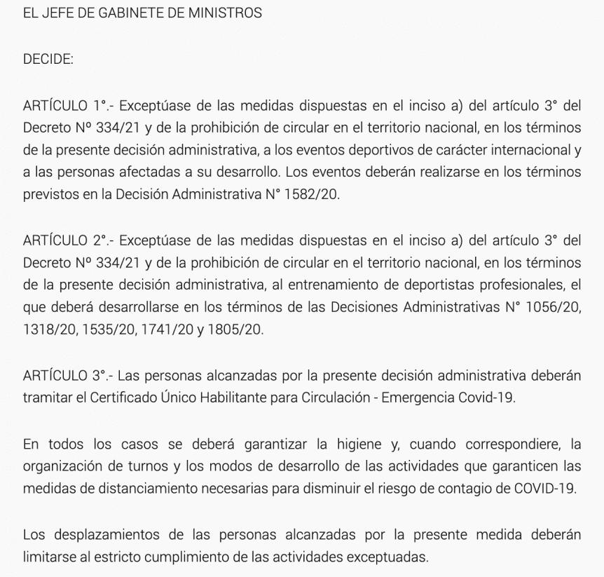 Decisión Administrativa 514/2021 del Gobierno Nacional.