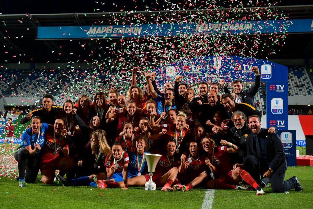 La Roma logró su primer título al quedarse con la Copa de Italia Femenina.